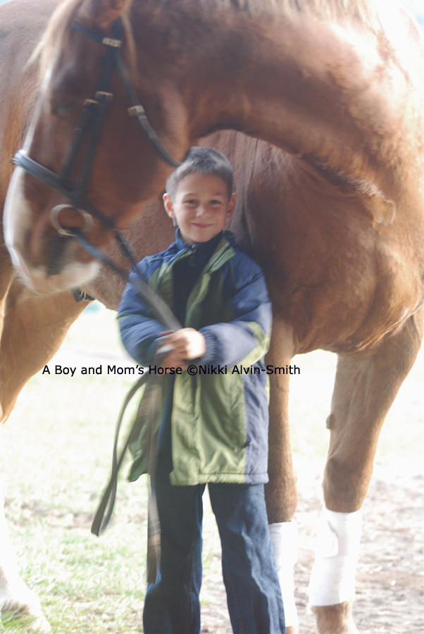 A Boy and Mom's Horse